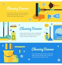 Cleaning Horizontal Banner Set vector image
