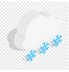 Cloud and snowflakes isometric icon vector