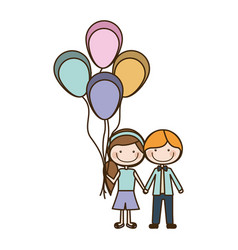 colorful caricature of boy short hair and girl vector image vector image