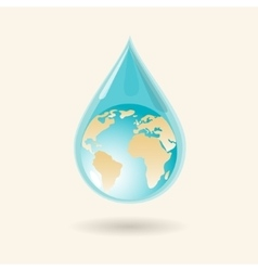 Earth in water drop vector image vector image