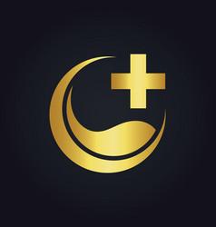 Eco medic cross gold logo vector