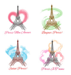 Eiffel tower signs on white background vector