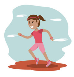 girl runner sport school education vector image