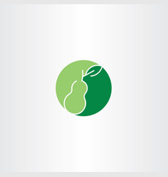 Green pear fruit logo vector