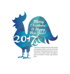 greeting card with christmas and new year cock vector image