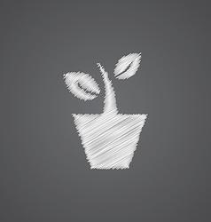 Houseplant sketch logo doodle icon vector