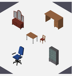 isometric design set of chair table office and vector image vector image