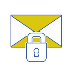Letter text message with padlock security vector