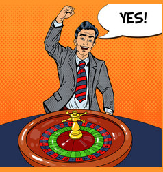 Man behind roulette table celebrating big win vector
