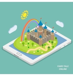 Online fairy tale reading isometric vector image