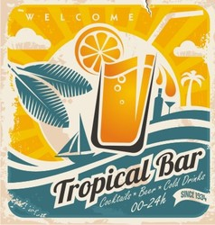 Retro poster template for tropical bar vector