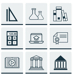 set of 9 school icons includes distance learning vector image vector image