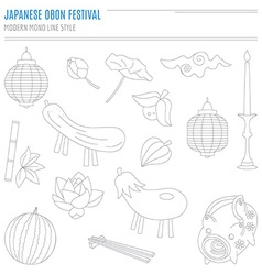 Set of japanese summer bon festival attributes vector