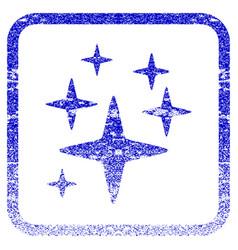 Sparkle stars framed textured icon vector