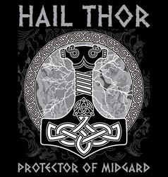 Thor s hammer - mjollnir against the backdrop of vector