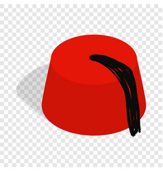Turkish hat fez isometric icon vector