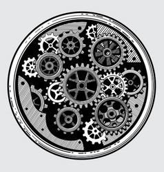 vintage industrial machinery with gears cogwheel vector image vector image