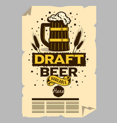 wooden mug of draft beer poster flyer vector image vector image