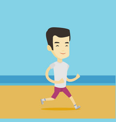 young sporty man jogging on the beach vector image vector image