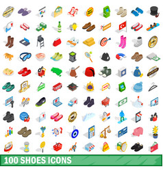 100 shoes icons set isometric 3d style vector