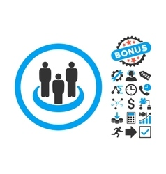 Social group flat icon with bonus vector