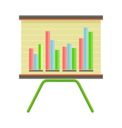 Presentation screen with bar chart isolated vector
