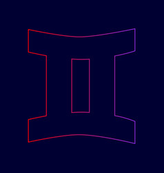 Gemini sign  line icon with gradient from vector