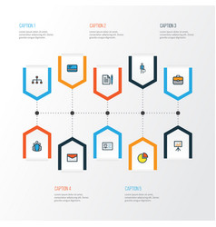 Job colorful outline icons set collection of id vector
