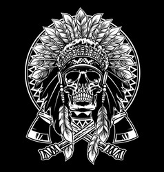 Skull of native american warrior with tomahawk vector