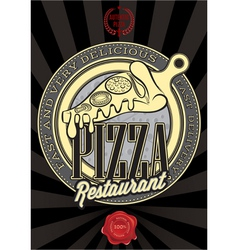 Poster with the emblem pizza and an inscription vector