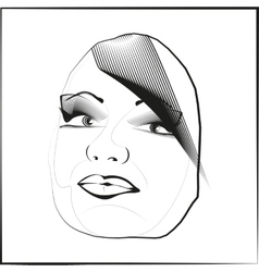 Sketch outline eyes lips face hair look obliquely vector image
