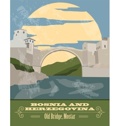 Bosnia and herzegovina landmarks retro styled vector