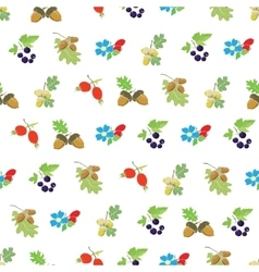 Colorful autumn berries nuts seamless vector