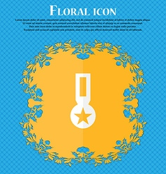 Award medal of honor icon sign floral flat design vector