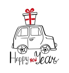 Happy new year card with hand drawn car and vector