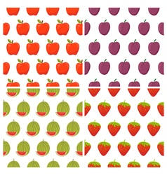 Set of fruit seamless patterns healthy food vector