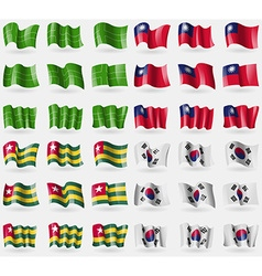 Ladonia taiwan togo korea south set of 36 flags of vector