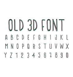 Colorful old 3d font stereoscopic effect vector