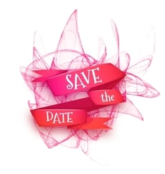 Red ribbon with save the vector