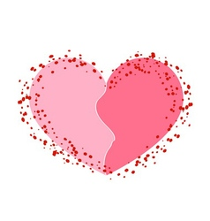 Halves heart icon pink white vector