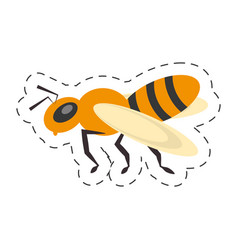 Bee insect flower pollen cut line vector