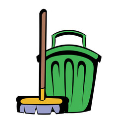 Broom and bucket icon cartoon vector