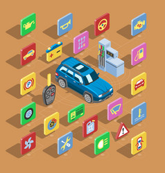 car automotive icons isometric automobile vector image vector image