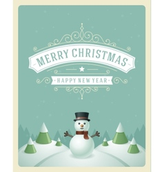 Christmas retro typographic and ornament vector