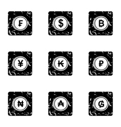 Currency icons set grunge style vector