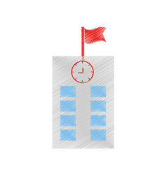 Drawing school building flag vector