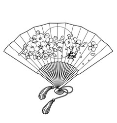 Fan with floral decoration vector