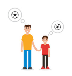father and son thinking about soccer character vector image