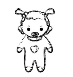 Figure baby girl with pacifier and hairstyle vector