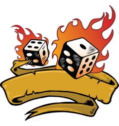 flaming dice banner vector image vector image